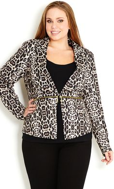 City Chic - ANIMAL MIRROR JACKET - Women's plus size fashion