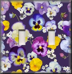 Pansy Flowers On Purple - Light Switch Plate Cover - Pansies Home Decor Floral #LunaGallerySwitchPlates