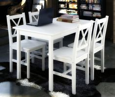 #Kitchen #Dining #Set #White #Table #4 #Chairs #Wooden #Furniture #Country #Style #5pcs #New