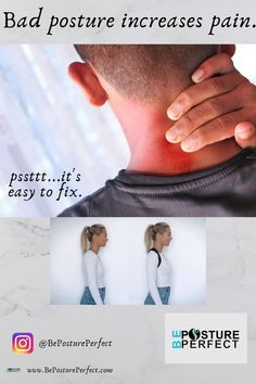 Do you notice your back feeling sore and stiff after sitting in front of a computer for long hours? You're not alone, poor sitting and standing posture is a leading cause of back and neck pain. A simple posture corrector can make a world of difference in helping you maintain good posture and reduce back pain. #bepostureperfect #health #posturecorrection #healthyliving #backpain #posture #tech-neck #pain #neckpain #painfree #postureworkouts #tech-neck #healthy #chiro #badposture #sittingposture Fix Bad Posture, Good Posture, Improve Posture, Better Posture Exercises, Posture Stretches, Relieve Tension Headache, Neck Headache, Body Inflammation, Perfect Posture