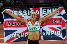 Britain's Jessica Ennis celebrates winning the heptathlon gold medal.
