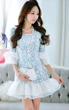 Blue Lace 3/4 Sleeve Flare Hem Designer Dress - Morpheus Boutique