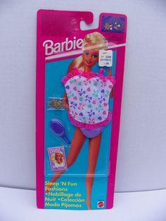 Vintage Mattel #68021 Barbie Sleep 'N Fun Fashions NRFB , 1994 Barbie Clothing , Fashion Doll Clothes , Barbie Pajamas , Barbie Doll Outfit by ShersBears on Etsy