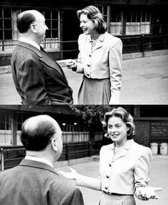 Ingrid Bergman with Alfred Hitchcock