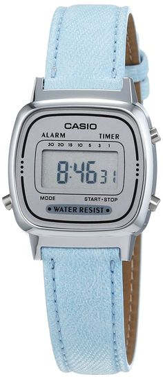 Casio - LA670WEL-2AEF - Vintage - Montre Femme - Quartz Digital - Cadran Gris - Bracelet Tissu Bleu: Amazon.fr: Montres