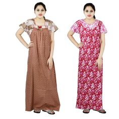 Extra Off Coupon So Cheap Women Dress Long Indian Cotton Nighty Night  Sleepwear Gown Printed (Pack of b2d64f68c