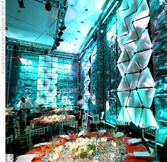 David [Beahm] used inventive lighting effects to bring out the texture and dimension in these custom-created walls.    Yes... Custom created walls....