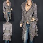 Trendy Gray Ruffles Lace Tiered Hem Button Up Cardigan Long Sweater Jacket