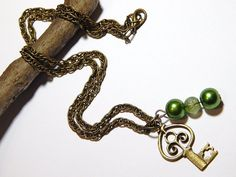 Key Necklace With Moss Green Pearls by MURPHYSTREASURES2 on Etsy, $21.95
