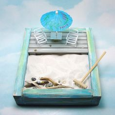 Miniature Zen Beach Garden Kit, 2 Miniature Beach Chairs With Umbrella Table…