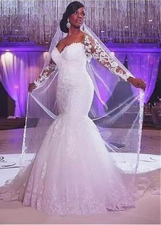 This beautiful Mermaid Sweep Train Long Sleeves Tulle Sweetheart Applique Wedding Dresses will make your guests say wow. The Sweetheart bodice is thoughtfully lined, and the skirt with Appliques to provide the airy, flatter look of Tulle. Wedding Dress Train, Applique Wedding Dress, Lace Mermaid Wedding Dress, Gorgeous Wedding Dress, Mermaid Dresses, Tulle Wedding, Cheap Wedding Dress, Wedding Gowns, Dress Lace