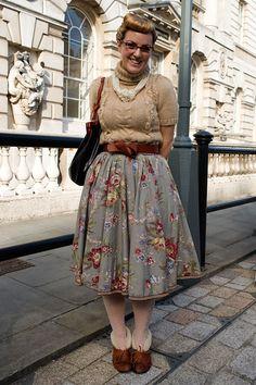 the skirt...the shoes,on a platform........ London street fashion!