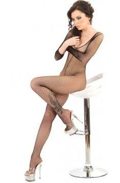 Uzun Kollu Vücut Çorabı, Özel bölge dekolteli, fileli, uzun kollu ve göğüs dekolteli seksi vücut çorabı.