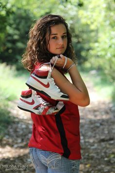 Senior picture idea for girls who are involved in basketball. Or cute mash up for a softball player with cleats. Basketball Senior Pictures, Unique Senior Pictures, Girl Senior Pictures, Senior Girls, Senior Photos, Girl Photos, Senior Portraits, Cheer Pictures, Basketball Photography