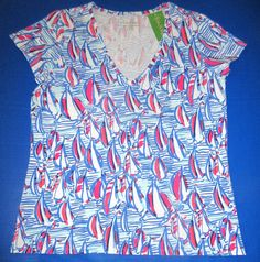 LILLY PULITZER XL Michele Red Right Return SAILBOAT V Neck Tee Top NWT New XL #LillyPulitzer #KnitTop #Casual