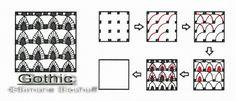 Dieses Muster sieht schwieriger aus, als es ist. Da die entstehenden Spitzbögen mich an die Fenster in alten gotischen Kathedralen erinnerten, fand ich diesen Namen sehr passend.