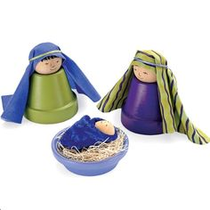 Nativity Scene Craft  Need following:   2 small terra-cotta pots, 1 small terra-cotta saucer, Acrylic paint, Fine-point marker, 3 wooden knobs, one smaller than the others, Tacky glue, Fabric, Embroidery floss, Raffia