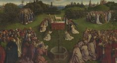 The central panel of the Ghent Altarpiece. Jan / Hubert van Eyck. This bit is known on its own as 'The Adoration of the Lamb', for obvious reasons. It may or may not have originally been a separate work.