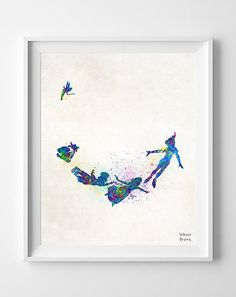 Peter Pan Print Disney Poster Tinker Bell by InkistPrints on Etsy