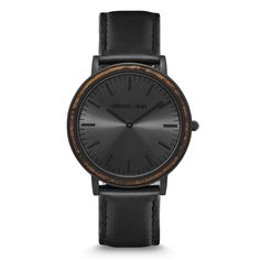 FEATURES Natural Ebony Wood Bezel Ultra Sleek 40mm Case Premium Black Italian Leather Band Mineral Crystal Glass (Scratch Resistant) Matte...