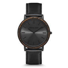 FEATURES Natural Ebony Wood Bezel Ultra Sleek 40mm Case Premium Black Italian Leather Band Mineral Crystal Glass (Scratch Resistant) Matte...