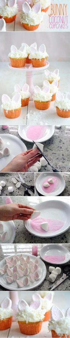 DIY Easter Bunny Coconut Cupcakes