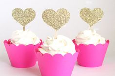 Gold Glitter Heart Cupcake Toppers Glitter Gold Party Supplies Bachelorette Party Cupcake Toppers Girls Birthday Party Sparkly / Set of 12 on Etsy, $12.00