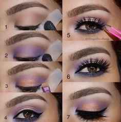 Cómo hacer un maquillaje de día en tonos violeta ~ Belleza y Peinados