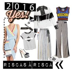 """""""Riscas à risca"""" by anabelaf on Polyvore featuring Donna Morgan, Gucci, Fendi, Moschino, Ted Baker, Proenza Schouler, Bobbi Brown Cosmetics, Anya Hindmarch, MANGO and adidas"""