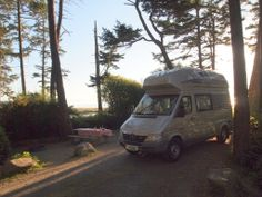 Somewhere on the west coast of Oregon - a 2005 Airstream Sprinter Westfalia camper van (one of only 250 imported into North America)  at sunrise.