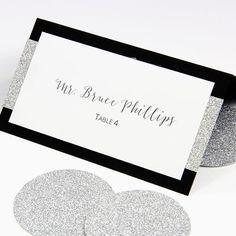 Wedding double sided place cards shown in crystal for Make your own wedding place cards