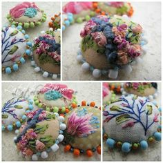 Embroidered and beaded buttons.