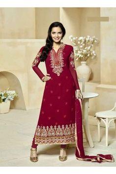 Red coloured designer straight cut suit-1110