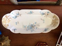 Limoges ca1900 Celery Dish Light Blue Flowers with Gilded Handles
