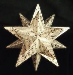 Sheet Music Origami Starburst Recycled Sheet Music by 3peacocks, $25.00