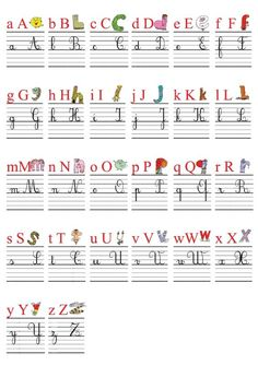 An alphabetic frieze posters) for the class with alphas alphabet and 4 letters spelling (lowercase and uppercase script and cursive) as well as an alphabetical referent for students. Cursive Handwriting Practice, Cursive Writing Worksheets, Handwriting Analysis, Alphabet Script, Alphabet Cursif, French Cursive, English Worksheets For Kids, Montessori Education, Learn Calligraphy