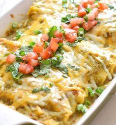 Delectable Salsa Verde Chicken Enchiladas Recipe | Food Recipes