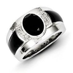 Men's Black Onyx Diamond Sterling Silver Ring Jewelry Gemologica.com offers a unique selection of mens gemstone and birthstone rings crafted in sterling silver and 10K, 14K and 18K yellow, white and rose gold. We have cool styles including wedding and engagement rings, fashion rings, designer rings, simple stone and promise rings. Our complete jewelry collection of gemstone rings for men can be seen here: www.gemologica.com/mens-gemstone-rings-c-28_46_64.html