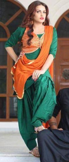 green color cotton plain patiala with jacket semi-stitched designer salwar suit Punjabi Girls, Punjabi Dress, Punjabi Suits, Punjabi Fashion, Indian Fashion, Indian Dresses, Indian Outfits, Patiala Salwar Suits, Churidar