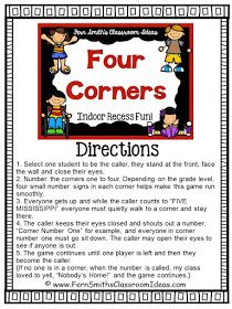Fern Smith's FREE Four Corners Game – Classroom Freebies Fern Smith's Classroom Ideas Indoor Recess ~ Four Corners Directions FREE Printable at Classroom Freebies Gym Games For Kids, Indoor Games For Kids, Kids Gym, Daycare Games, Big Kids, Class Games, School Games, Pe Class, Pe Games