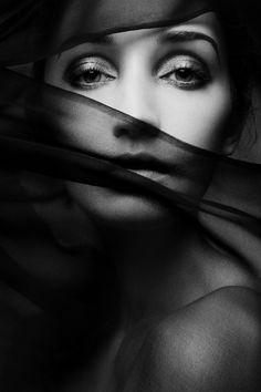 Woman, female, lady, vail, eyes, intense, portrait, shadows, mysterious, beauty, beautiful, photograph, photo b/w.