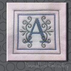 Hi, and thanks for your interest in Personal Life Embroidery Designs!  Brand New GORGEOUS Monogram set A-Z in a light, summery Sea Breeze design. It comes with one design of each letter, included in the design. Perfect for Valentines, Mothers Day, Weddings, and gifts! 3 Sizes, to fit hoops sizes: 4x4 5x5 6x6  Join my Facebook Group and be the first to get sneak peaks, FREEBIES and amazing coupons! https://www.facebook.com/groups/1533336590280326/profile_completion/  Resizing these designs…