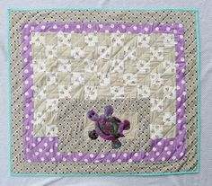 Sea turtle baby quilt - Girl baby bedding - Purple baby quilt - Blanket - Ready to ship
