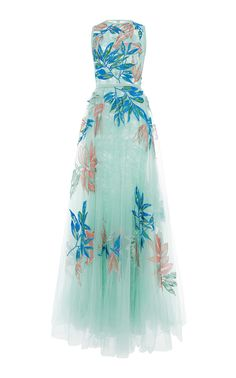 Elie Saab Floral Embroidered Tulle Gown