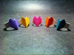 Origami Heart Ring Easy! / 折り紙 ハート指輪 折り方 - YouTube