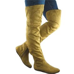 Proud 09 by Qupid New Camel Tan Over the Knee Flat Boots ** Unbelievable outdoor item right here! : Over the knee boots