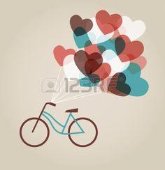Valentine s kaart met tandem fiets Stockfoto
