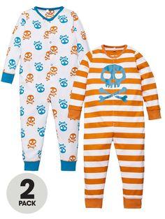 Ladybird Toddler Boys Printed Skull Sleepsuits (2 pack) | very.co.uk