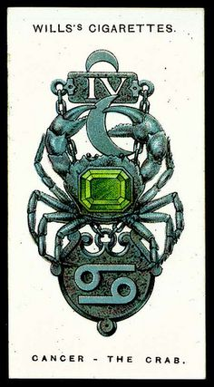 Cigarette Card - Cancer, The Crab. Culd spin this an make a cool zodiac tattoo Horoscope Tattoos, Cancer Horoscope, Cancer Zodiac Art, Tarot, Cancer Moon, Constellation Tattoos, Aries Constellation, Cancerian, My Zodiac Sign