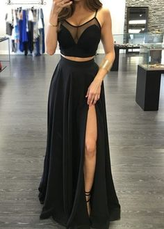 Two Pieces Prom Dress,Black Prom Dresses,Sexy Slit Graduation